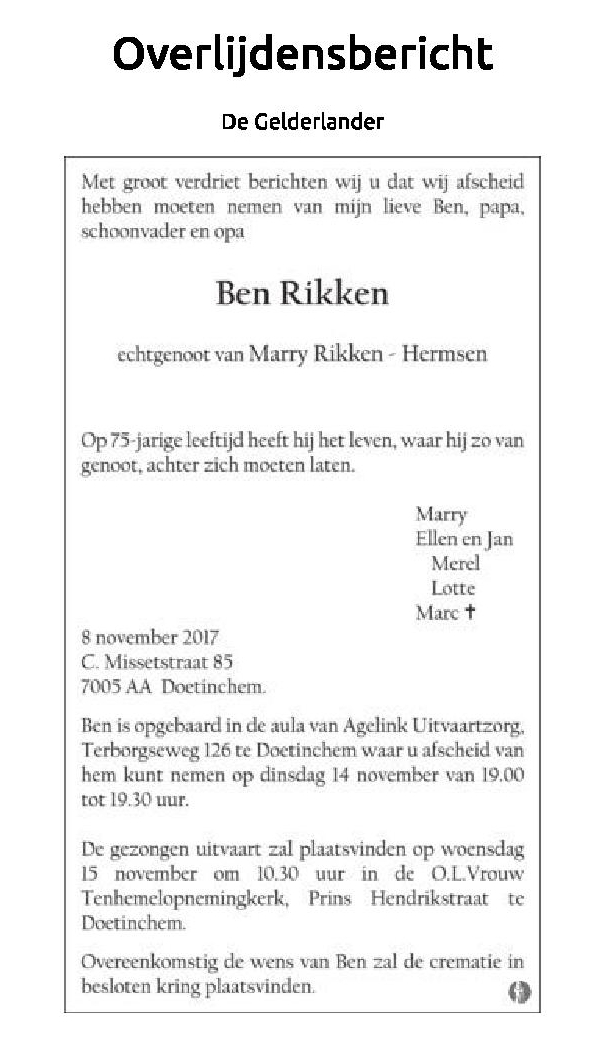 Overlijden Ben Rikken