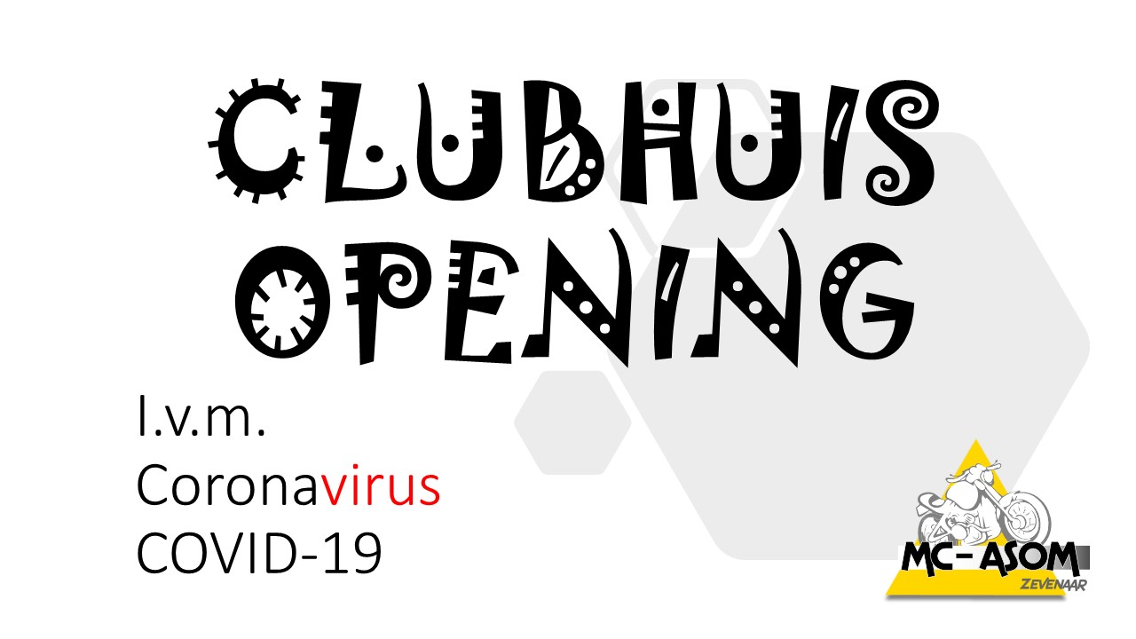 Clubavond - vrijdag 6 november 2020 - clubhuis gesloten